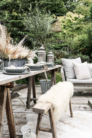 Cow hide rug - Scandi rugs for outdoor use.