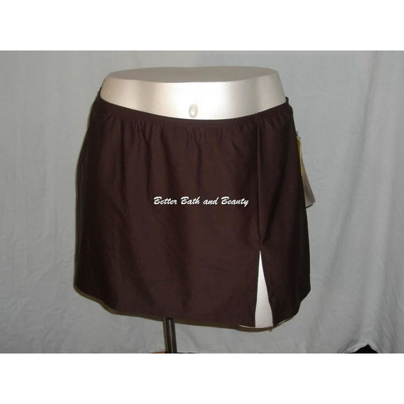 A Shore Fit Plus Size Swim Suit Skirt Skirtini Swim Bottom SIZE 24W Brown NWT - Better Bath and Beauty