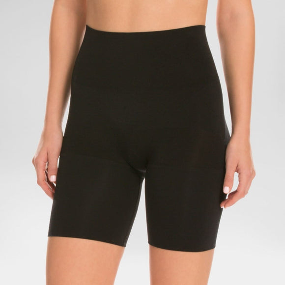 Assets by Spanx 10125 Remarkable Results Mid-thigh Shaper Shorts Shaping Short 1X Black - Better Bath and Beauty