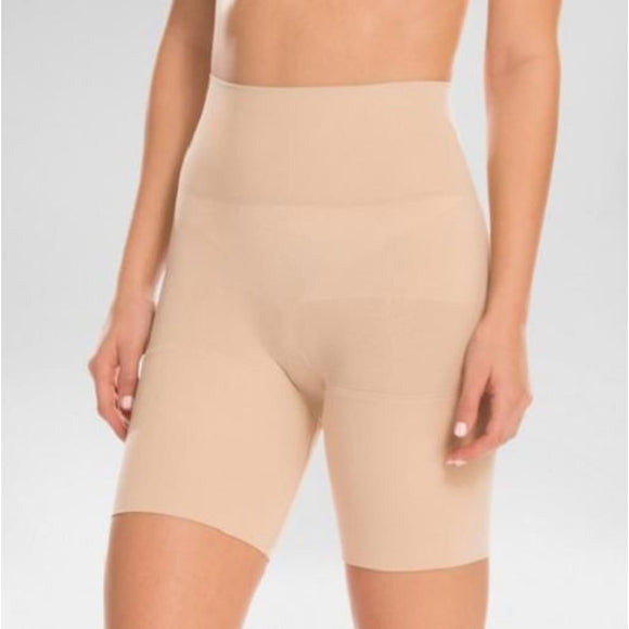 Assets by Spanx 10125 Remarkable Results Mid-thigh Shaper Shorts Shaping Short LARGE Nude - Better Bath and Beauty