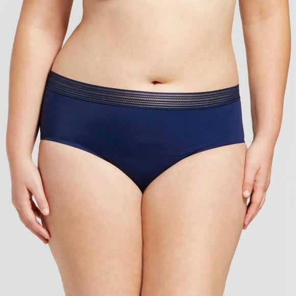 Ava & Viv Plus Size Laser Cut No Show Hipster Panty X (14W) Nighttime Blue - Better Bath and Beauty