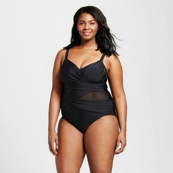 Ava & Viv Womens Plus Size Mesh Cut Out One Piece 26W Black NWOT - Better Bath and Beauty