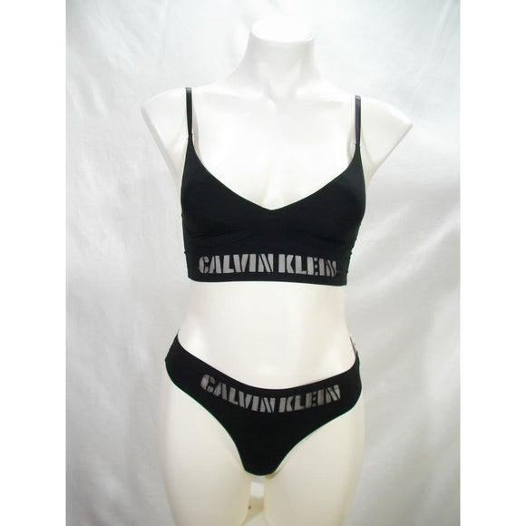 Calvin Klein QF1809 Logo Triangle Bra & QF4068 Thong Set SIXE XS X-SMALL Black NWT - Better Bath and Beauty