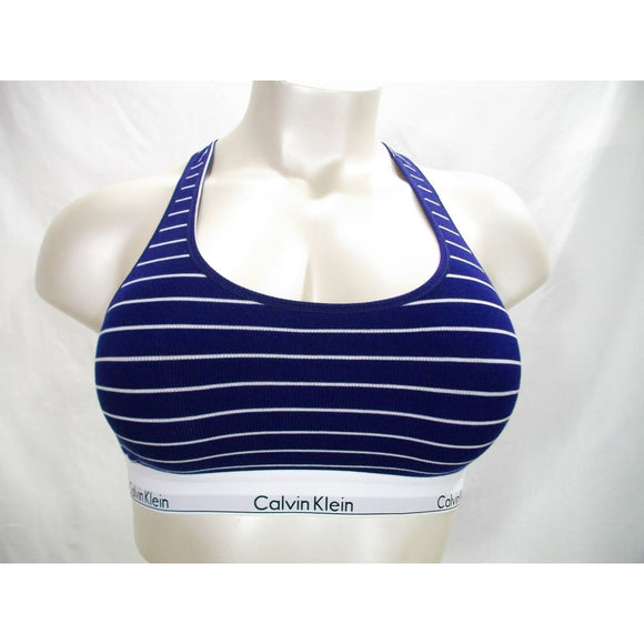 Calvin Klein QF4118 Modern Cotton Ribbed Striped Bralette XL Navy Blue & White NWT - Better Bath and Beauty