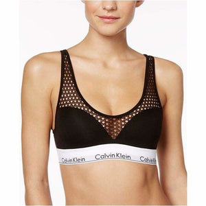 Calvin Klein QF4476 Push-Up Fishnet-Panel Wire Free Bra SMALL Black & White NWT - Better Bath and Beauty