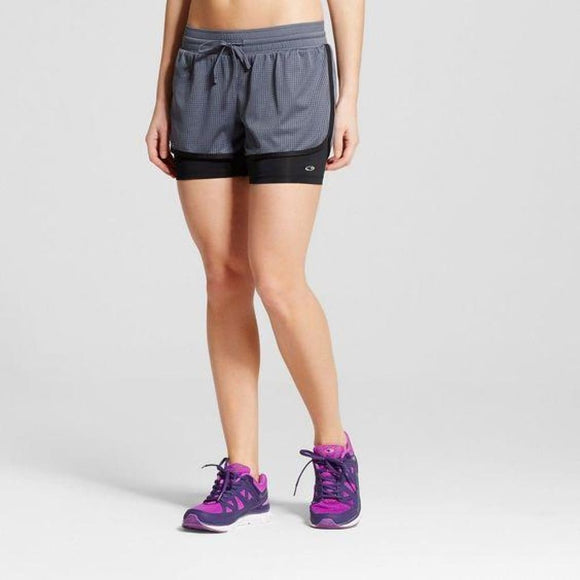 Champion C9 99098 Women's 2-in-1 Mesh Layered Run Shorts SMALL  Dark Gray NWT - Better Bath and Beauty
