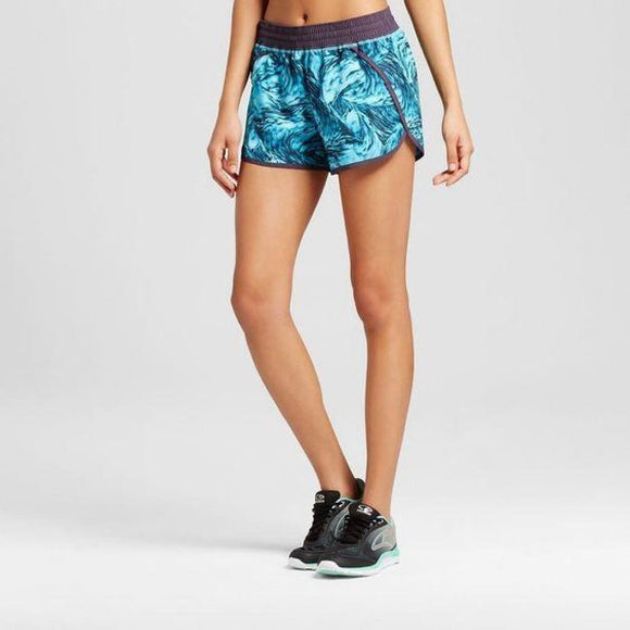 Champion C9 99150 Women's Run Shorts with built-in Panty XS X-SMALL Turquoise Feathers Swirl - Better Bath and Beauty