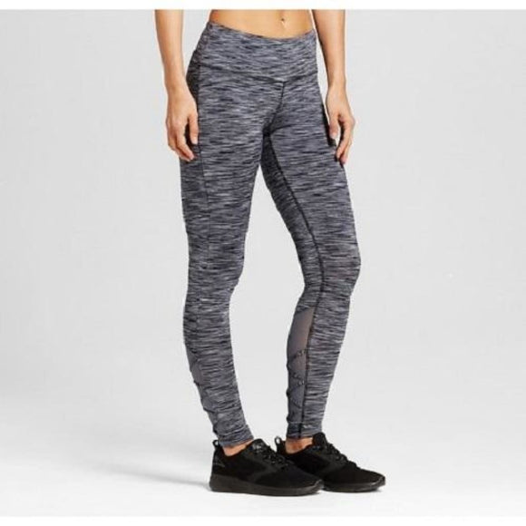 Champion C9 B9198 Womens Strappy Mesh Leggings XS X-SMALL Ebony Heather Gray NWT - Better Bath and Beauty