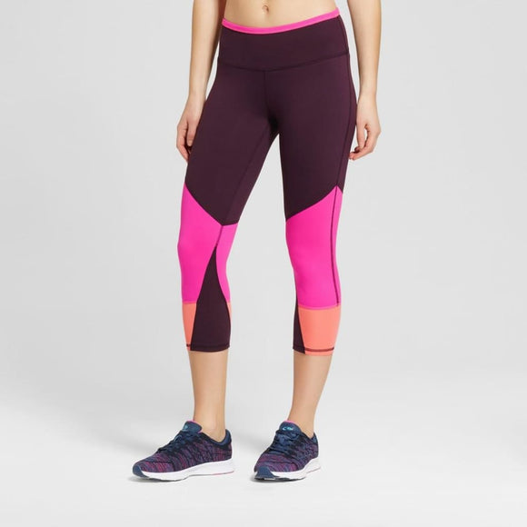 Champion C9 B9199 Womens Freedom Color Block Capri Leggings XS X-SMALL Burgundy Pink - Better Bath and Beauty