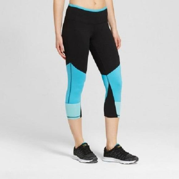 Champion C9 B9199 Womens Freedom Color Block Capri Leggings XS X-SMALL Teal Black - Better Bath and Beauty