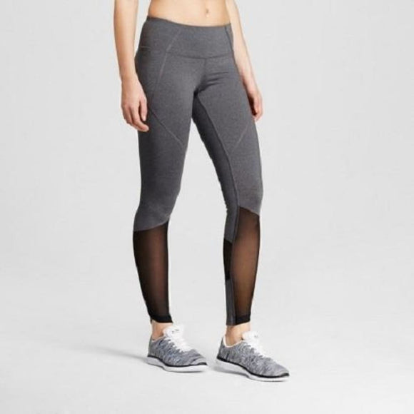 Champion C9 B9204 Premium Mesh Pieced Leggings XS X-SMALL Heather Gray & Black - Better Bath and Beauty