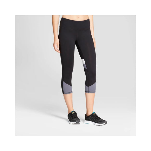 Champion C9 B9257 Freedom Fashion Capri Leggings SMALL Black Gray Colorblock - Better Bath and Beauty
