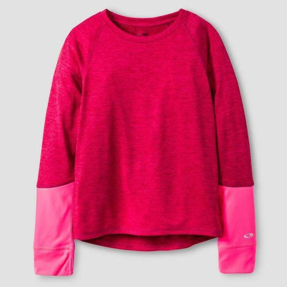 Champion C9 K9031 Girls Long Sleeve Tech T-Shirt MEDIUM (7-8) Berry Pink NWT - Better Bath and Beauty