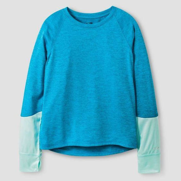 Champion C9 K9031 Girls Long Sleeve Tech T-Shirt MEDIUM (7-8) Blue NWT - Better Bath and Beauty