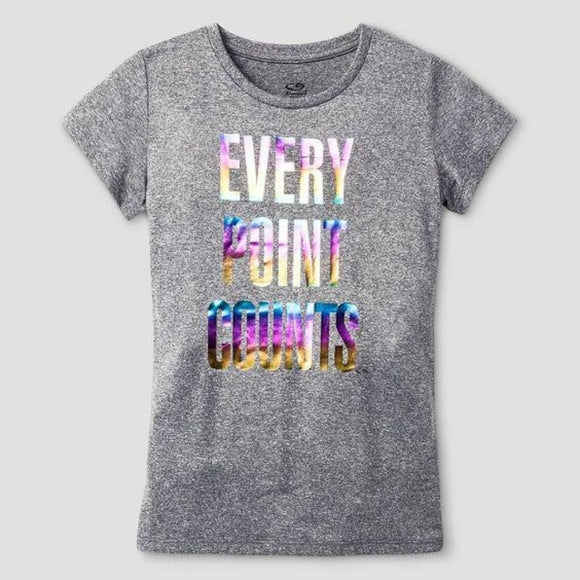 Champion C9 K9037 Girls Graphic Tech T-Shirts S (6-6X) Hardware Gray EVERY POINT COUNTS NWT - Better Bath and Beauty