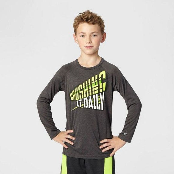 Champion C9 K9166 Boys Graphic Long Sleeve Tech T-Shirt L (12-14) Gray CRUSHING IT DAILY - Better Bath and Beauty