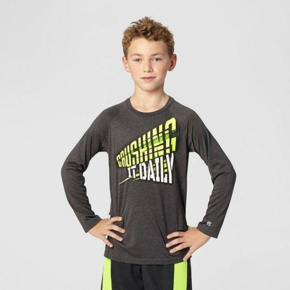 Champion C9 K9166 Boys Graphic Long Sleeve Tech T-Shirt M (8-10) Gray CRUSHING IT DAILY - Better Bath and Beauty