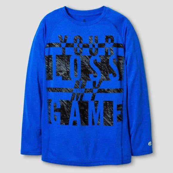 Champion C9 K9166 Boys Graphic Long Sleeve Tech T-Shirt S (6-7) Blue YOUR LOSS MY GAME - Better Bath and Beauty