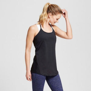 Champion C9 K9194 Womens T-Back Tank Top with Mesh Piecing MEDIUM Black NWT - Better Bath and Beauty