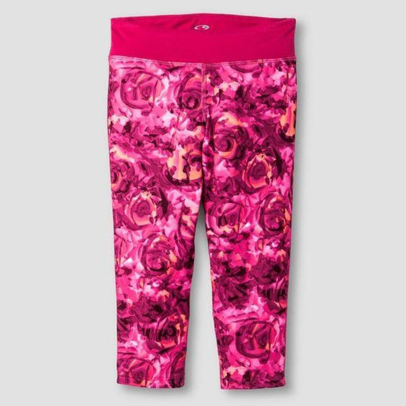 Champion C9 P9910 Girls Printed Performance Yoga Capri Rose XL (14-16) Rose Pink - Better Bath and Beauty