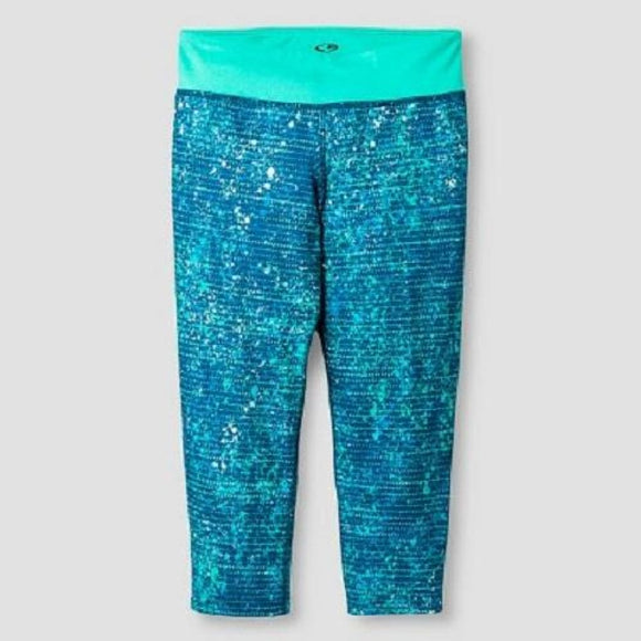 Champion C9 P9910 Girls Printed Performance Yoga Capri XS (4-5) Aqua NWT - Better Bath and Beauty