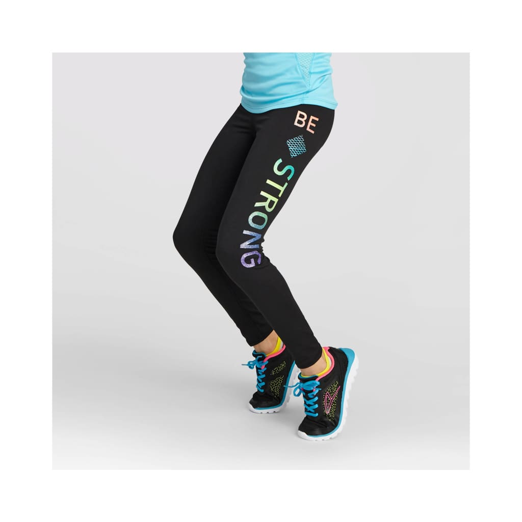 presenting best place factory outlet Champion C9 P9949 Girls Graphic Performance Legging XL X-LARGE BE STRONG  Black