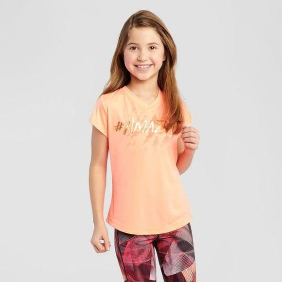Champion C9 S9613 Girls Graphic Tech T-Shirt M (7-8) Deep Sea Coral #AMAZING - Better Bath and Beauty