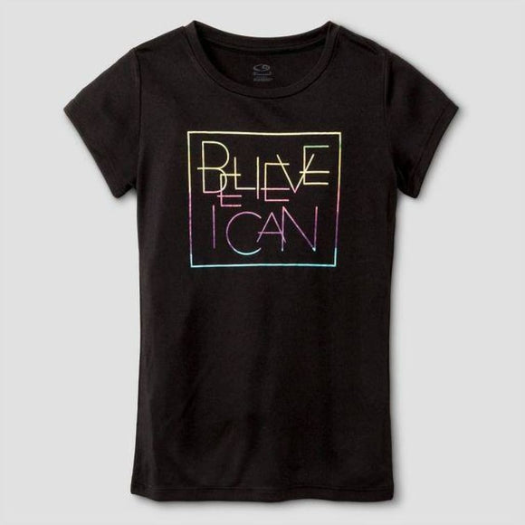 Champion C9 S9846 Girls Graphic Tech T-Shirt S (6-6X) Black BELIEVE I CAN NWT - Better Bath and Beauty