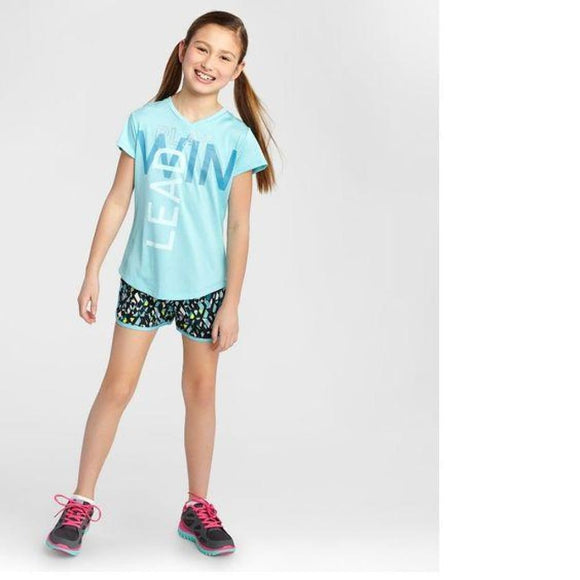 Champion C9 S9846 Girls Graphic Tech T-Shirt S (6-6X) Turquoise Blue PLAY LEAD WIN NWT - Better Bath and Beauty