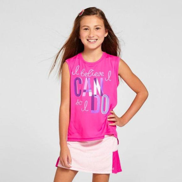 Champion C9 S9968 Girls Graphic Muscle Tank Pink XS (4-5) I BELIEVE I CAN SO I DO - Better Bath and Beauty