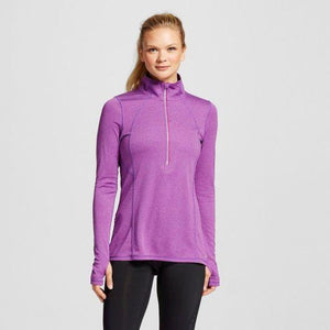 Champion C9 V9532 Women's Run 1/2 Zip Half Zip Pullover Jacket Size SMALL Plum Dream Mini Stripe - Better Bath and Beauty