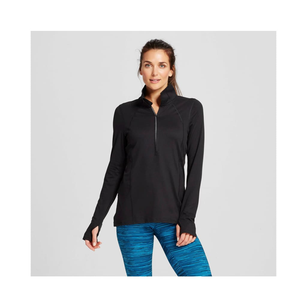 C9 by Champion Women/'s 1//2 Zip Run Pull-Over Jacket Black Size Small NWT