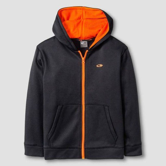 Champion C9 V9642 Boys Tech Fleece Full Zip Hoodie XS (4-5) Charcoal & Orange - Better Bath and Beauty