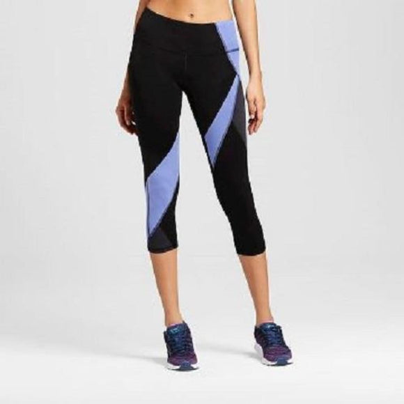 Champion C9 Womens Freedom Asymmetrical Capri Leggings XS X-SMALL Black & Blue - Better Bath and Beauty