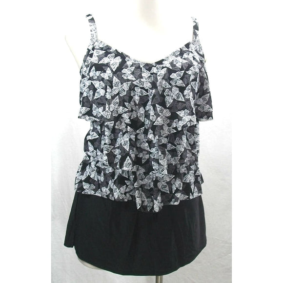 Costa del Sol JUNIORS 2PC Butterflies Ruffled Tankini & Skirt 0X 14-16 Black NWT - Better Bath and Beauty