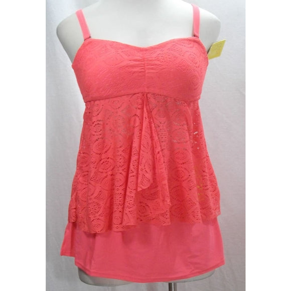Costa del Sol JUNIORS 2PC Crochet Flyaway Tankini Swim Top Skirt 0X 14-16 Coral - Better Bath and Beauty