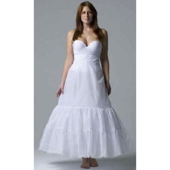 David's Bridal 9603W Plus Size A-Line Medium Fullness 2-Tier Slip Size 18W White - The New
