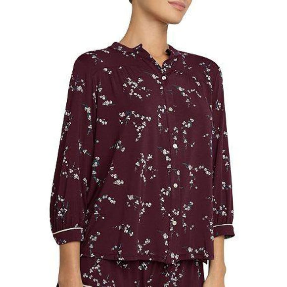 Eberjey Daisy Floral Pajama Top MEDIUM Burgundy Floral - Better Bath and Beauty