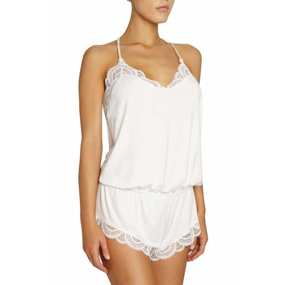 Eberjey Marry Me Racerback Teddy Romper SIZE MEDIUM White NWT - Better Bath and Beauty