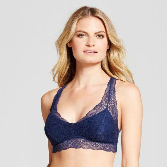 Gilligan & O'Malley Lace Racerback Wire Free Bralette LARGE Nighttime Blue - Better Bath and Beauty