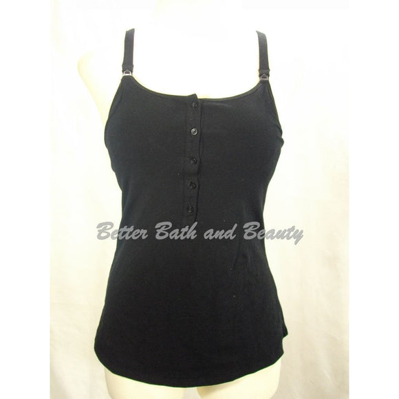Gilligan & O'Malley Nursing Henley Cotton Cami Camisole Top Size SMALL Black - Better Bath and Beauty