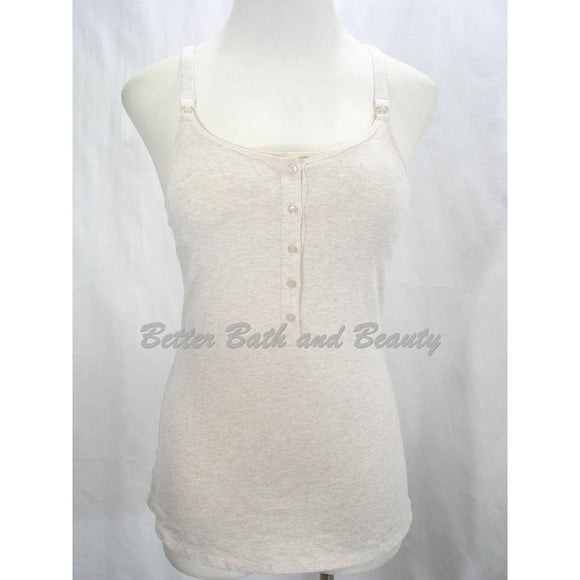 Gilligan & O'Malley Nursing Henley Cotton Cami Camisole Top Size Small Oatmeal - Better Bath and Beauty