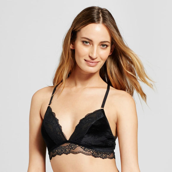 Gilligan & O'Malley Velvet and Lace Bralette Size LARGE Ebony Black - Better Bath and Beauty