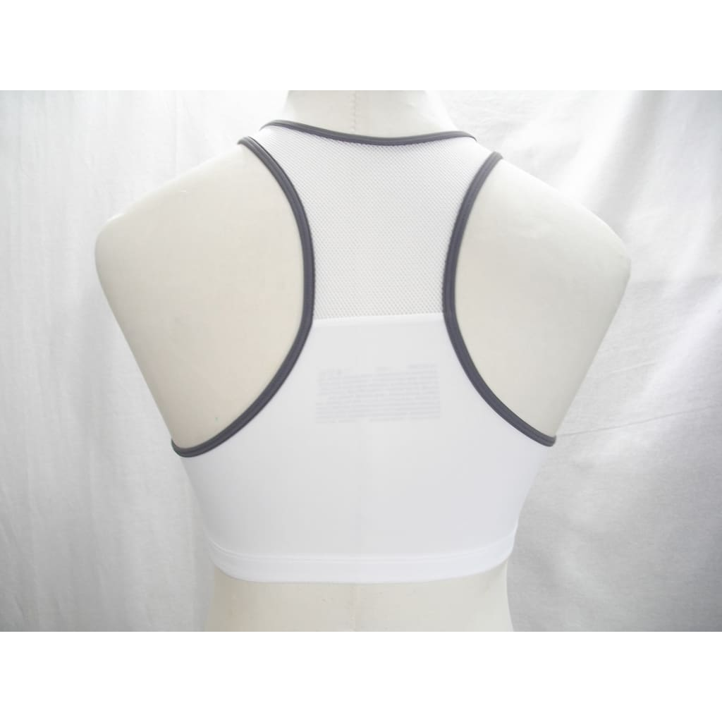 45709d1279 ... Hanes G469 HC32 Wire Free Zip Front Vented Back Sports Bra SMALL White  with Gray Trim