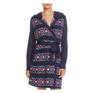 Jane & Bleecker New York Hooded Robe MEDIUM Navy Blue Print NWT - Better Bath and Beauty
