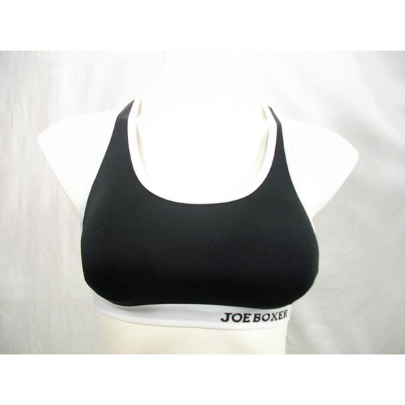 Joe Boxer Logo Band Racerback Wire Free Wireless Sports Bra Size SMALL Black & White - Better Bath and Beauty