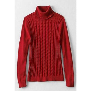 Land End 437242 Cotton Cable Turtleneck Sweater XS X-SMALL 2-4 Rich Red NWT - Better Bath and Beauty