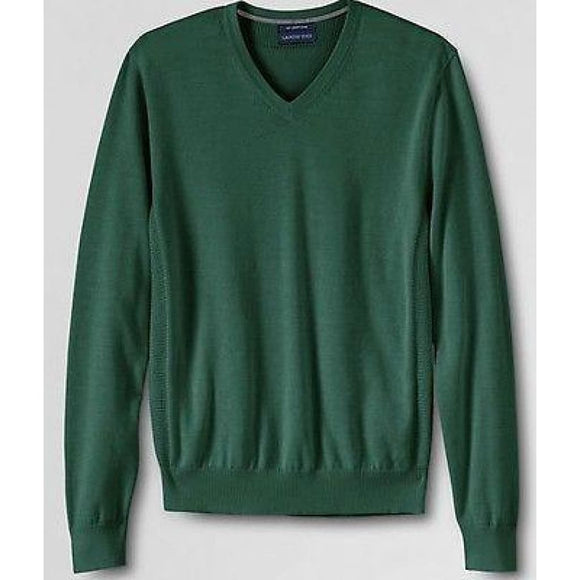 Land's End 337930 Mens Supima Cotton V-neck Sweater 2XL XXL 50-52 Gingko Leaf - Better Bath and Beauty