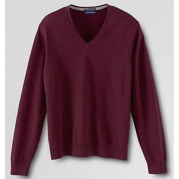 Land's End 337930 Men's Supima Cotton V-neck Sweater SMALL 34-36 Brandywine NWT - Better Bath and Beauty