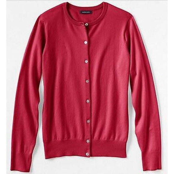 Lands End 411292 Supima Cardigan Sweater LARGE 14-16 Rich Red NWT - Better Bath and Beauty